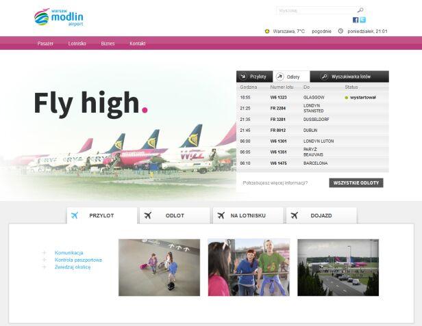 Nowa odsłona strony internetowej lotniska Lotnisko Modlin