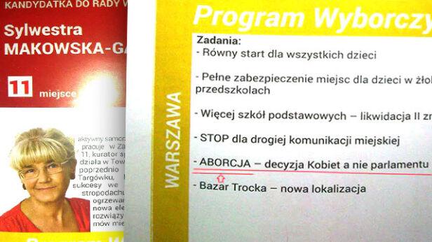 Ulotka wyborcza Sylwestry Makowskiej-Gaszyńskiej /materiały kandydata warszawa@tvn.pl