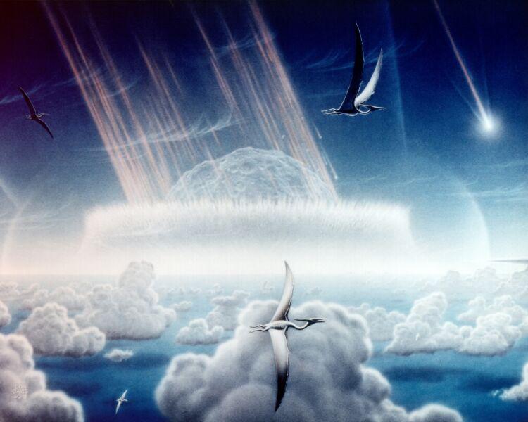 Uderzenie wielkiego asteroidy - wizja artystyczna (NASA/Donald E. Davis (Public Domain)