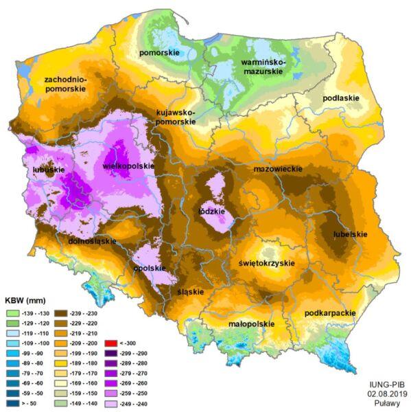 Klimatyczny Bilans Wodny (KBW) dla Polski (IUNG)