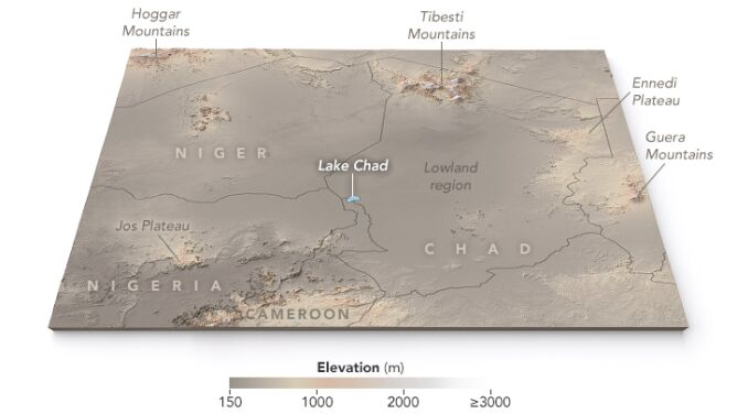 Jezioro Chad (NASA Earth Observatory map by Joshua Stevens, using ASTER Global Digital Elevation Model (GDM2) terrain data).