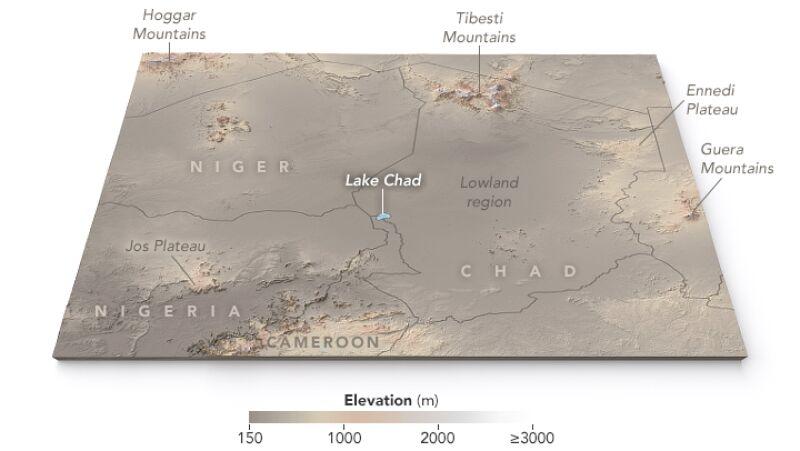 Jezioro Chad (NASA Earth Observatory map by Joshua Stevens, using ASTER Global Digital Elevation Model (GDM2) terrain data).