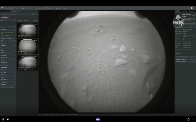 Zdjęcie wysłane przez łazik Perseverance (NASA/PAP/EPA)