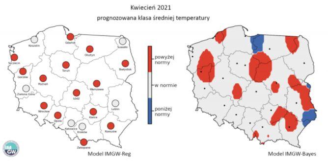 Prognozowana klasa średniej miesięcznej temperatury powietrza w kwietniu 2021 r. według modelu IMGW-Reg i IMGW-Bayes (źródło: IMGW)