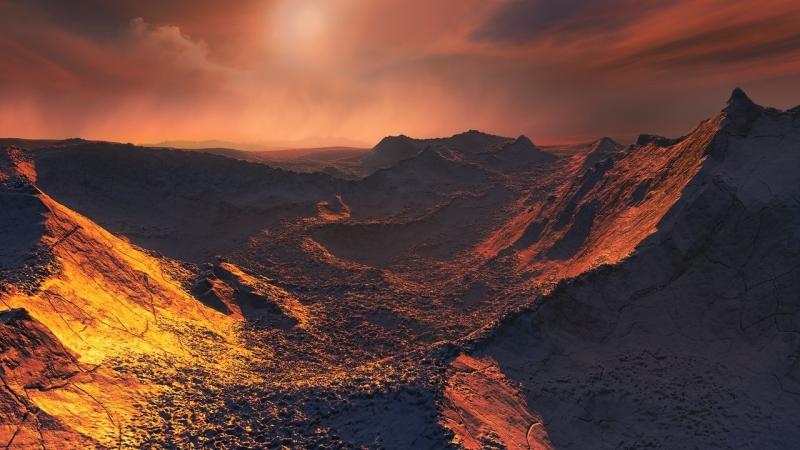 Wizja artystyczna powierzchni super-Ziemi krążącej wokół Gwiazdy Barnarda (ESO/M. Kornmesser/CC BY SA 4.0 International License)