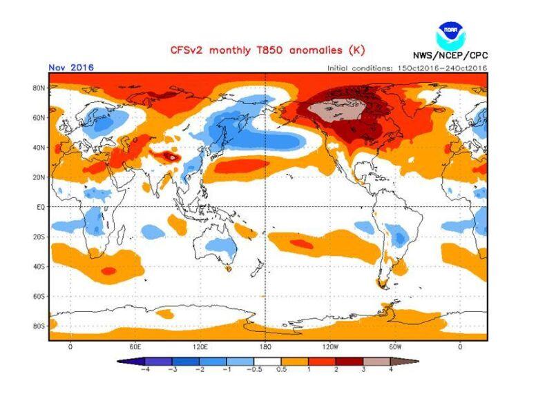 Odchylenie od normy temperatury powietrza na wysokości około 1,5 km w listopadzie 2016 – widoczny obszar chłodu nad wschodnią i środkową Europą
